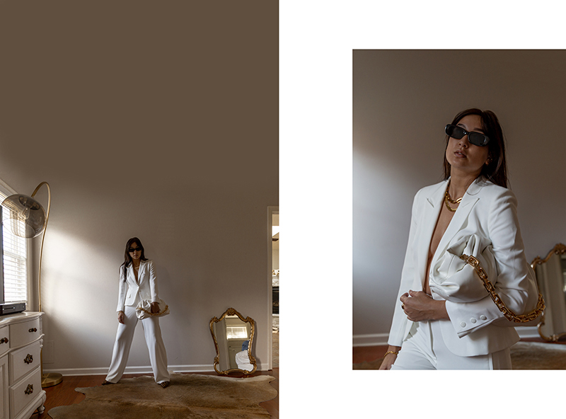 minimalist fashion white suit set