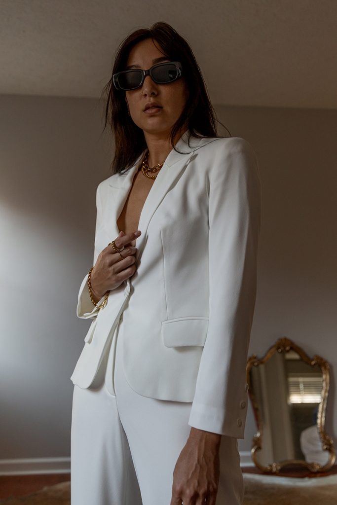 minimalist fashion tailored white suit set