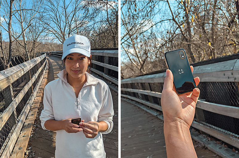staying connected with palm smartphone