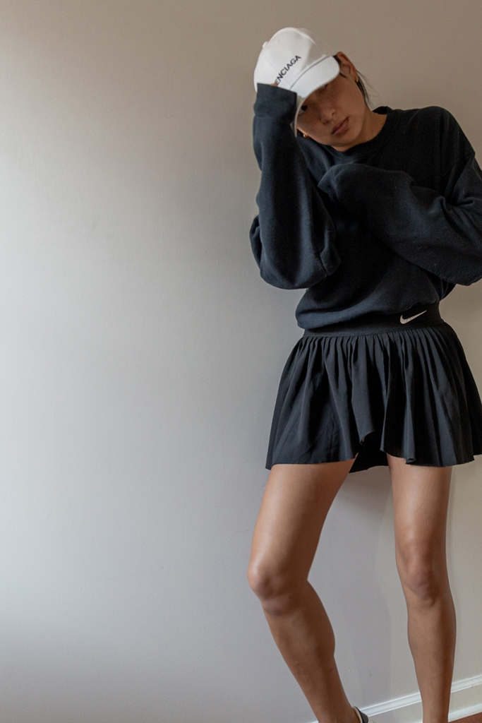 nike pleated skirt athleisure outfit idea