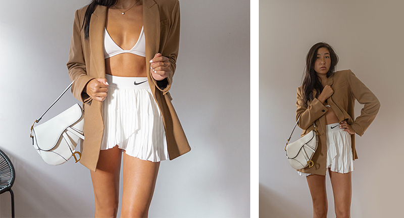 white nike pleated skirt outfit