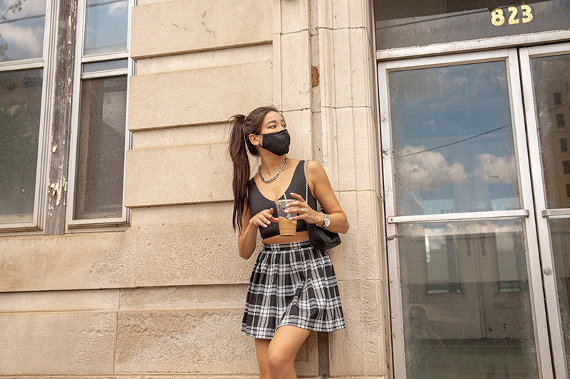2021 crop top trends | micro crop top outfit with plaid mini skirt fashion trend